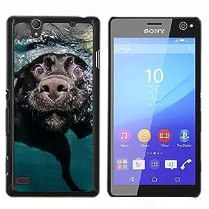 YiPhone /// Prima de resorte delgada de la cubierta del caso de Shell Armor - Negro Labrador Retriever perro Hocico - Sony Xperia C4