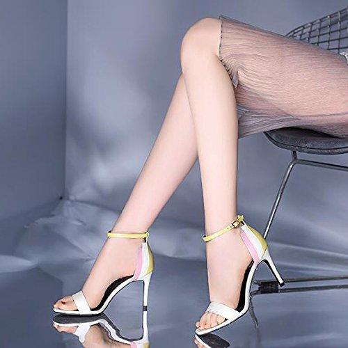 Caviglia Spillo Fibbia A Unita da Tacchi con Alti A Tinta Cinturino Donna 35 White Alla con Sandali Impunture wHFqPC