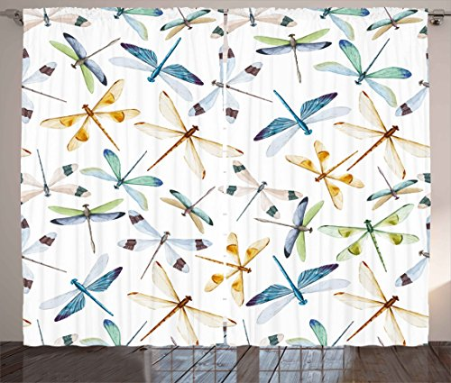 """Ambesonne Dragonfly Curtains, Moth Butterfly Like Bugs in Watercolor Print Modern Minimalist Design Art Print, Living Room Bedroom Window Drapes 2 Panel Set, 108"""" X 84"""", Brown Blue"""