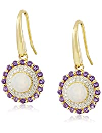 18k Gold  Rhodium Plated Sterling Silver Two-Tone Created White Opal  African Amethyst Wire Dangle Earrings