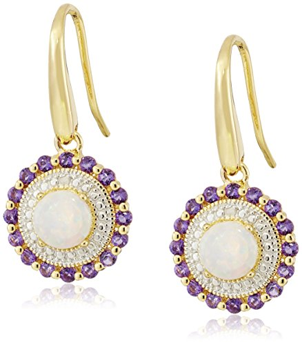 - 18k Yellow Gold Plated Sterling Silver Created Opal, Genuine African Amethyst, and Diamond Accent Dangle Earrings