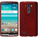Silicone Case for LG G3 - brushed red - Cover PhoneNatic + protective foils