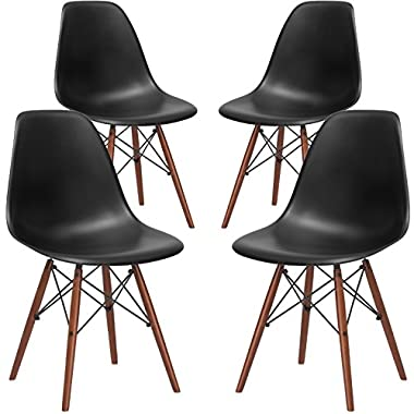Poly and Bark EM-105-WAL-BLK-X4 Eames Style DSW Side Chair with a Walnut Base (Set of 4), Black