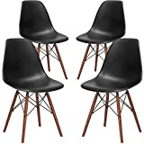Poly and Bark Vortex Side Chair Walnut Legs, Black, Set of 4