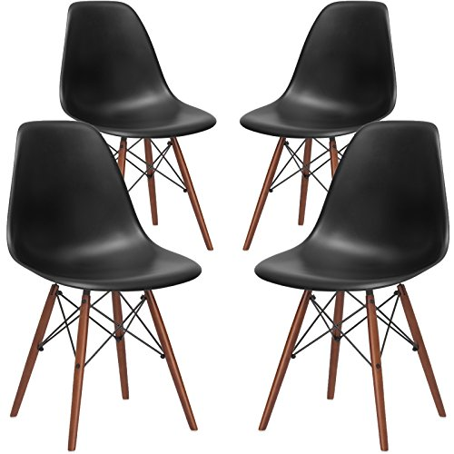 Four Chair Set (Poly and Bark Vortex Side Chair Walnut Legs, Black, Set of 4)