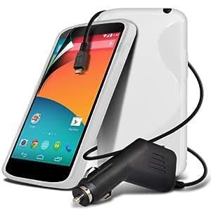 Fone-Case TRIPLE PAQUETE LG Google Nexus S 5 White Line Wave piel cubierta de la caja del gel + Micro USB Cargador de Coche Protector de pantalla LCD +