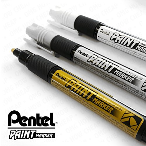 Pentel Cellulose Paint Marker - Medium Bullet Tip - MMP20 - 3 Pen Set - Gold, Silver, and White (Silver Pentel Colored Markers)