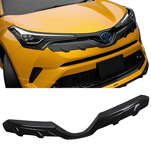 Grille Fits 2017-2018 Toyota C-HR | MD Grille Overlay Carbon Fiber Look Front Bumper Guards By IKON (Front Bumper Overlay)