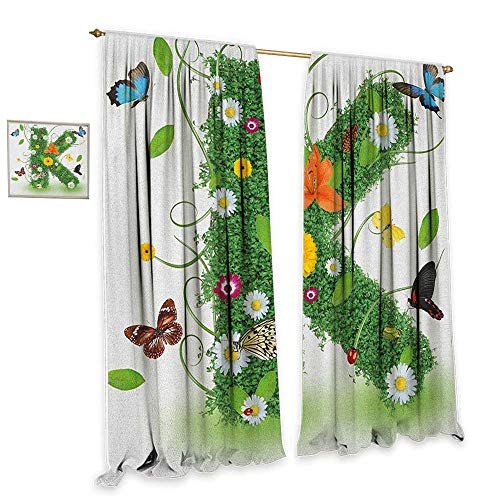 Letter K Insulated sunshade curtain Uppercase K Green Themed Image with Nature Inspirations Animals Plant Life Home Garden Bedroom Outdoor Indoor Wall Decorations 55