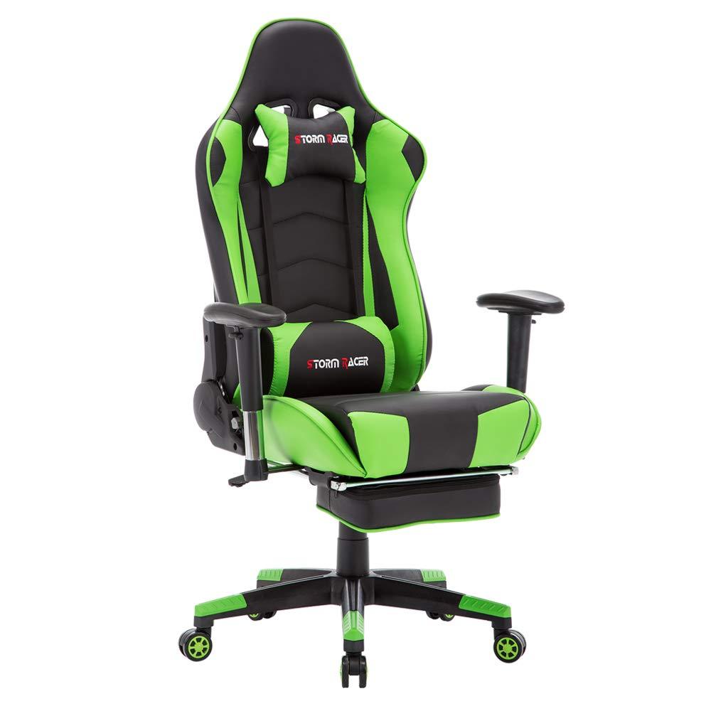 Storm Racer Gaming Stuhl PC Racing Gaming Sessel Bürostuhl Schreibtischstuhl mit Gepolsterte Fußstütze (Grün-05)