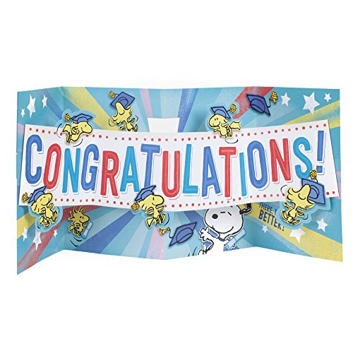 Hallmark Graduation Funny Greeting Card (Peanuts Snoopy and Woodstock, Big Congratulations Fold Out) Photo #6