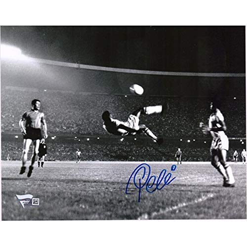 (Pele Brazil FAN Autographed Signed 8x10 Black & White Bicycle Kick Side View Photograph Autographed Signed In Blue - Certified Signature)