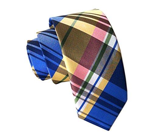 White Yellow Gingham (Secdtie Mens Blue Yellow White Checks Jacquard Woven Silk Tie Formal Necktie 609)