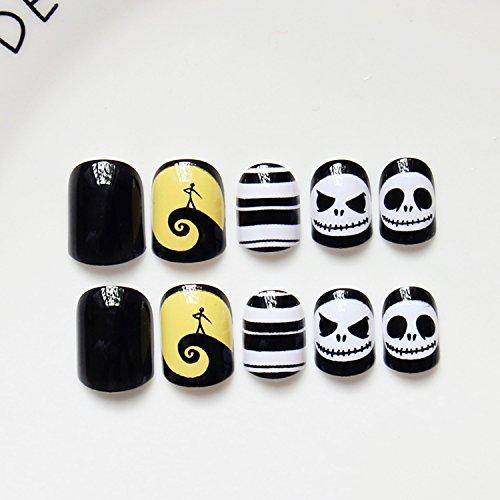 24pcs Halloween Gift Solid Black White Yellow Moon Night Skulls Oval Short Full Cover False Nail (Halloween Black And White Nails)