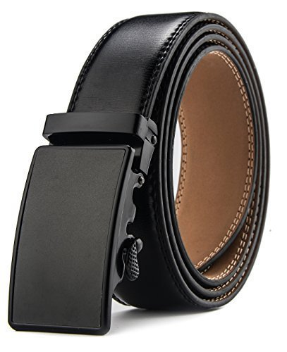 HW Zone Men's Genuine Ratchet Leather Belt for Dress with Black Buckle Wide 1 3/8 Inch