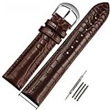 MSTRE NP07 Couple Leather Watch Bands Suitable for Armani Wristwatch Of Rose Gold Stainless Steel Buckle (18mm, brown)