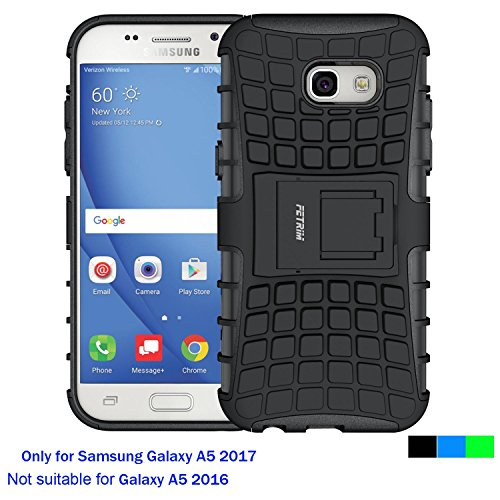 Samsung Galaxy A5 2017 Case ,Fetrim Rugged Dual Layer Shockproof TPU Case Protective Cover for Samsung Galaxy A5 2017 with Built-in Kickstand (A5 Black Dust)