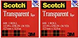 Office Products : Scotch Transparent Clear Finish Tape, 1/2 x 1296 Inches, 2 Rolls (600H2)