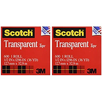Scotch Transparent Tape, Narrow Width, Engineered for Office and Home Use, 1/2 x 1296 Inches, 2 Rolls (600H2)