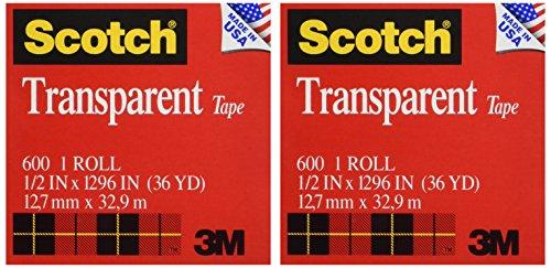 Scotch Transparent Tape, 1/2 x 1296 Inches, 2 Rolls (600H2)