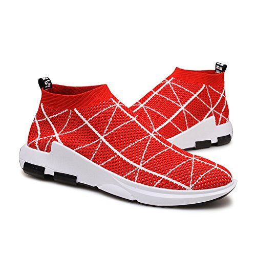 KONHILL Herren leichte Casual Walking High Top Söckchen Schuhe Breathable Knit Sneaker 806 Rot