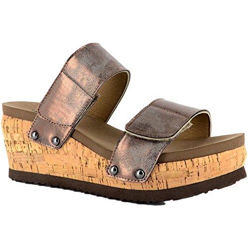 Corkys Womens Sandales Compensées Noires À Deux Sens Bronze
