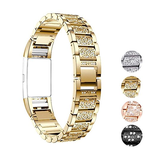 - Carryfly Bands Compatible with Fitbit Charge 2,Classic Stainless Steel Rhinestone Replacement Metal Wristband with Adjustable Watch Band Accessory for Fitbit Charge 2(Gold)