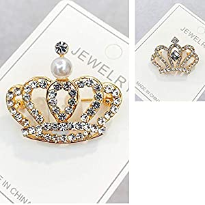 Bledyi Ladies Fashion Crown Brooch Diamond Pin Girl Metal Brooch Suitable for Shopping/Work
