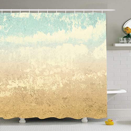 Ahawoso Shower Curtain 72x72 Inches Pale Watercolor Tone Retro Earth Colors Abstract Clouds Warm Vintage Beige Gradient Nature Sky Waterproof Polyester Fabric Set with -