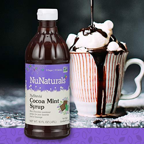 - NuNaturals NuStevia Sugar-Free Cocoa Mint Syrup Natural Stevia Sweetener with 0 Calories, 0 Sugar, 0 Carbs, 385 Servings (16 oz)