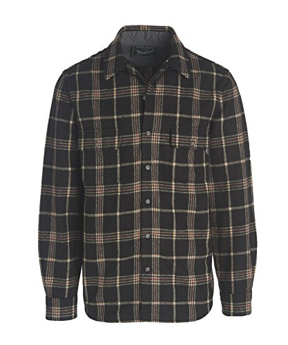 Woolrich Men's Bering Wool Shirt Modern Fit, Black Plaid, XX-Large
