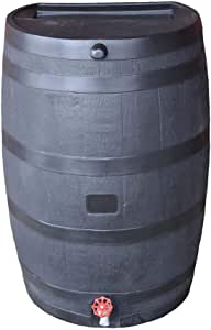 RTS Home Accents 50-Gallon ECO Rain Water Collection Barrel Made with 100% Recycled Plastic Spigot, Black