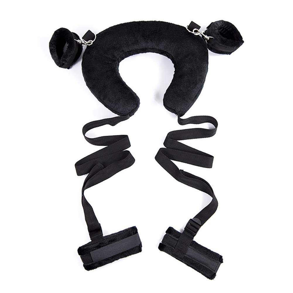 Ruinika New Plush Set Toy Suit Hands and feet restrained Ribbon SM Kit for Couple Adult Sexy Suit, Special Bundled Binding Couple Flirting Set for Sexy Fun SM Storage Bag Set Adult Products (Black)