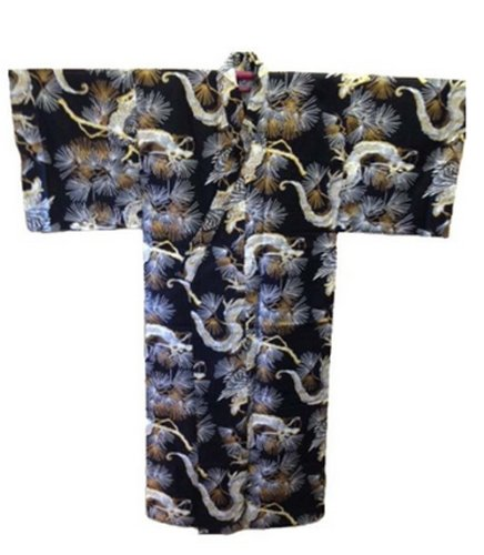 "Japanese 61""L Golden Dragon design Mens Kimono, Made in Japa"
