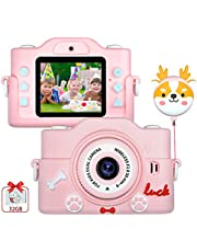 $28 » Kids Digital Camera, Anti-Drop Kids Video Camera Recorder Shockproof Cameras HD 8 Mega Pixel 2 Inch IPS Screen Mini Selfie Children Cartoon Camera with 32GB SD for Girls Boys Christmas Birthday Gifts