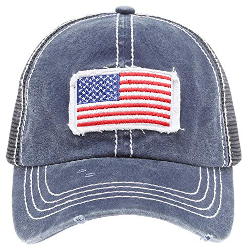 - MIRMARU Women's Baseball Caps Distressed Vintage Patch Washed Cotton Low Profile Embroidered Mesh Snapback Trucker Hat (USA Flag, Navy)