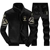 Men's Tracksuit, Casual Activewear 2 Pieces Sets Sports Jogging Stand Collar Cardigan Sweat Suits Full Zip Fashion Slim Athletic Sportswear