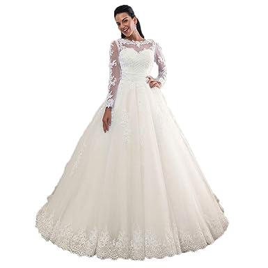 08e313e7d732 Miao Duo Women's Boat Neck Lace Detachable Train Skirt Long Sleeves Wedding  Dresses for Bride Detachable