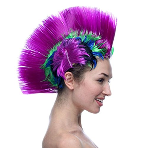 Adult Multi Color Mohawk Party Wig (Lisli Mohawk Party Wig Halloween Party Punk Hair Festival Rainbow Wig Cockscomb Hair Party Supplies (Purple))
