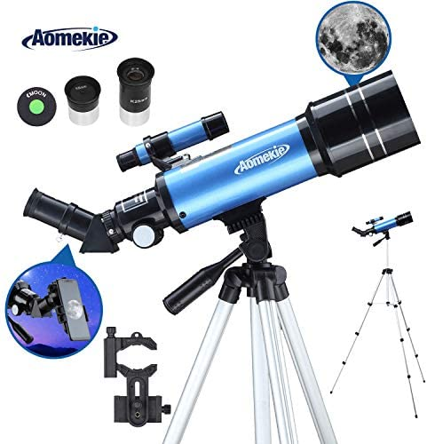 AOMEKIE Adults 70mm Large Objective Refractor Telescopes for Astronomy Beginners Kids with Adjustable 51inch Tripod Phone Adapter Finderscope Erect-Image Diagonal and Moon Filter