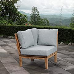 Harbor your greatest expectations with the luxurious Marina Teak Wood Outdoor Patio Corner Sofa Chair. Marina Patio Furniture set has a seating arrangement perfect for every member of your crew as you breathe the fresh, crisp air of a day spe...