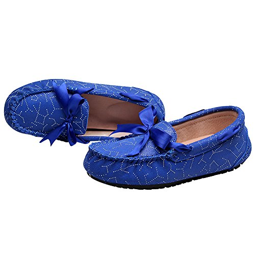 rismart Femme Plat Formel Robe Glisser Sur Bowknot Suède Cuir Mocassins Chaussures SN02737(Bleu Royal,EU36.5)