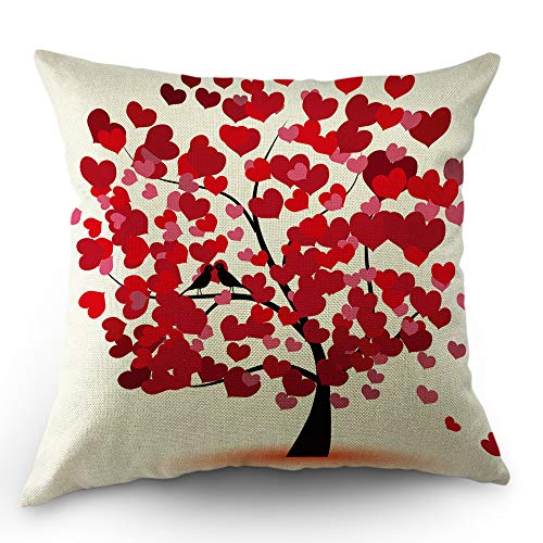 Moslion Heart Pillows Decorative Throw Pillow Cover Valentines Day Love Hearts Tree for Wedding Bridal Pillow Case 18x18 Inch Cotton Linen Square Cushion Cover for Sofa Bed Red