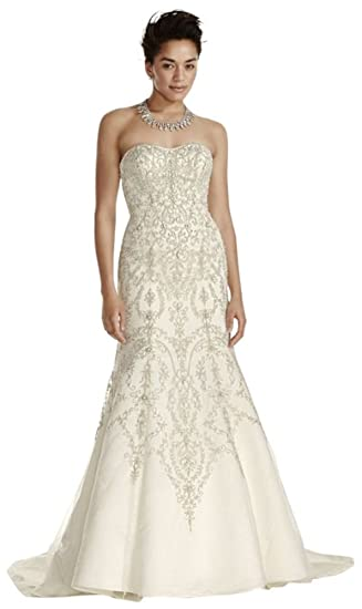 8e00a4c3d7dc Sample: Oleg Cassini Tulle and Crystal Wedding Dress Style AI14030146,  Ivory, 8 at Amazon Women's Clothing store: