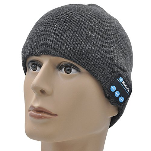 GoldWorld Bluetooth V4.1 Wireless Musical Beanie Winter Hat Knit Cap Beanies with 2 speakers Unique for Kids Men Women Teen Boys Girls Outdoor Sport Running (Dark Gray)