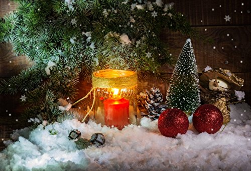 Baocicco Pine Tree Candle Light Snow Land Christmas Eve Decor Backdrop 8x6ft Photography Background Red Bauble Balls Pine Cone New Year Winter Scene Holiday -