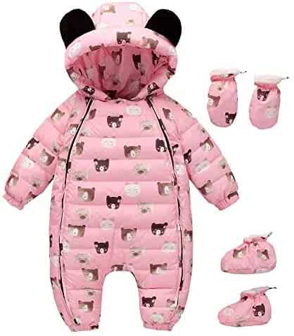 5195bc1cb Happy childhood 0-24M Baby Warm Rompers Winter Infant Bodysuits Onesie  Snowsuit Outfit Hooded Down