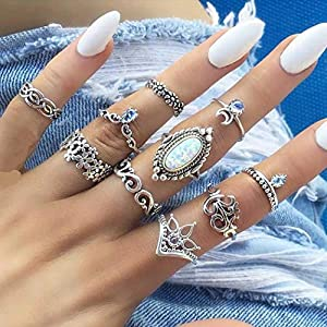 YBSHIN Vintage Elephant Gold Finger Rings Moon Joint Knuckle Rings Sets Flower Stackable Hollow Carved Ring for Women…