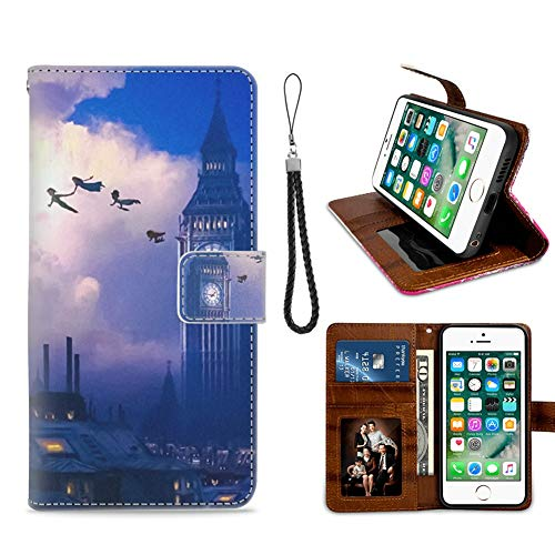 DISNEY COLLECTION Wallet Case Compatible with iPhone 6, iPhone 6S Big Ben and Peter Pan with Friends Shockproof Bumper Credit Cards Cash Pocket Kickstand Protecive Cover (I Phone 6 Peter Pan Case)