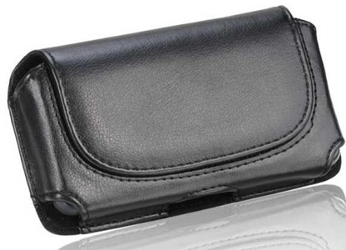 Blackberry Horizontal Leather Case - Blackberry Classic Black Leather Horizontal Case Pouch With Stitched Flap Hidden Magnetic Closure Built In Belt Clip And Belt Loop